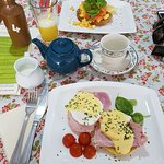 Eggs Benedict and Scrambed Egg with Smoked Salmon.