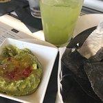 jalapeño cilantro margarita and habanero jelly guacamole with chips