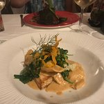 Wild sea bass with shrimp and lobster raviolis