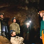 Park visitors enjoying a tour of Riverbend Cave at Horne Lake Caves. Photo by Landon Sveinson.