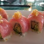 Red Wave Roll - prawn, avocado, wrapped in red tuna with masatake sauce