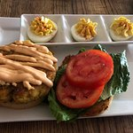 Crab sandwich and deviled eggs
