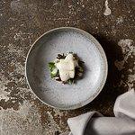 Cod, miso celeriac foam, sea greens, Angassi oysters