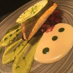Filet of sea bass with beet and courgette puree