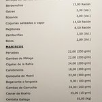 Carta de moluscos, mariscos e ibéricos
