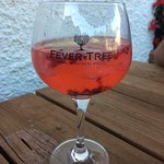 Pink gin with lemonade and berries - divine!