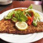 veal schnitzel and salad