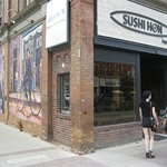 Big mural on the wall at left helps pinpoint Sushi Hon location in downtown Collingwood.