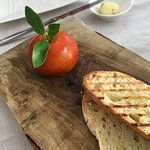 Chicken liver pate with tangerine...in the shape of a tangerine!