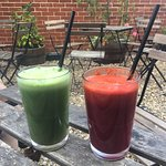 Smoothies in the courtyard.
