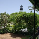 The Key West Lighthouse from the balcony of the Hemingway home.