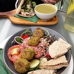 Falafel salad and chicken pitta with soup