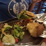 Split Salad and Burger with Baked Potato