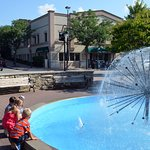 Fun at the fountain, across from Egg Harbor Cafe