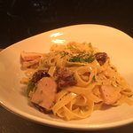 Tagliatelle with smoked chicken breast and asparagus & sundried tomatoes in a light creamy sauce