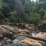 Cross the creek below the falls