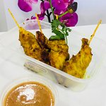 Chicken Satay with Peanut Dipping Sauce (Starter)