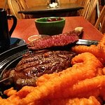 Ribeye with sweet potato fries and pickled beets