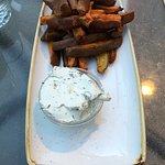 Baked Rosemary Yam Fries With Vegan Tzatziki