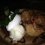 Banana fritters with ice cream.