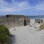 The wartime concrete buildings were to the south of the beach