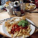 fish, chips and mushy peas.