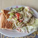 Half and Half - 1/2 Cuban sandwich and 1/2 1905 Salad