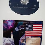 This is the actual American Flag that flew on the Atlantis Space Shuttle.