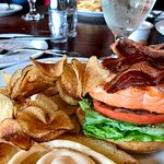 Salmon BLT and home made chips.