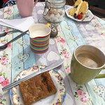 Coffee, ginger cake and blueberry/lemon cake.
