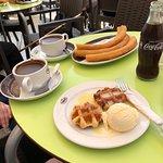 Churros, waffles and hot chocolate!