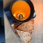 Sweet potato soup and chicken sandwich