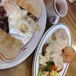 Corned beef hash and chicken fried steak!