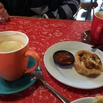 chicken and Mango tart & tomato relish with a latte