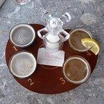 Beer flight: Roseway red, Offgrid, Bid Axe Blonde, Dooryard.