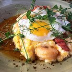 Shrimp and Grits with Egg and Maple