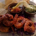Shrimp Tacos with Salsa, Guacamole & Chips