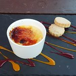 White chocolate and Raspberry creme brulee with shortbread