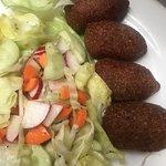 kibe balls with salad