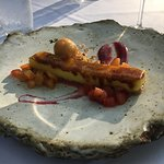 creme brulee with fresh cherries and peaches, peach sorbet