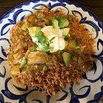 Arroz Con Pollo Bowl (chicken, tomatillo sauce, cheese, rice, avocado, green onions, sour cream)