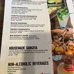Menu: Margaritas, Sangria, Non-Alcoholic Beverages