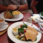 Club Sandwich and Greek Salad