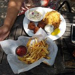 Fried flounder with rosemary fries.