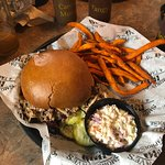 Pulled Pork Sandwich with Sweet Potato Fries - Delish!