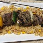 Steak kabob with rice. Very, very good ....