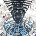 View of the window into the Reichstag from the spiral ramp in the visitors dome.