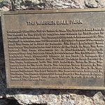 Plaque with the history of the ball park, which is still used today.