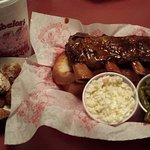 Beef Ribs, Corn Nuggets, Cole Slaw, Green Beans and Garlic Bread