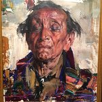 "Nicolai Fechin painting in the Woolaroc collection, ""Old Indian"""